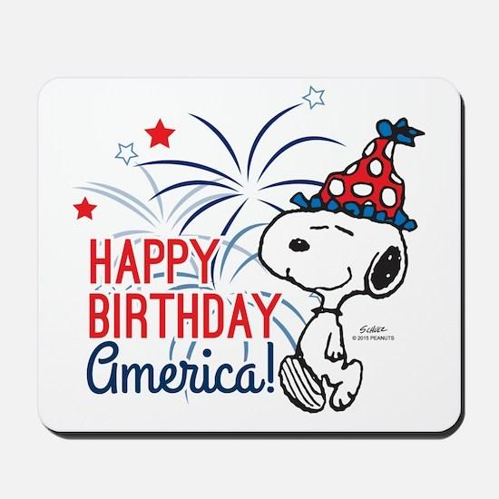 Snoopy - Happy B-Day America Mousepad