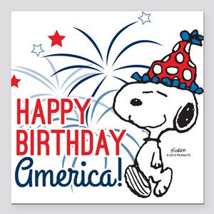 "Snoopy - Happy B-Day Ame Square Car Magnet 3"" x 3"""