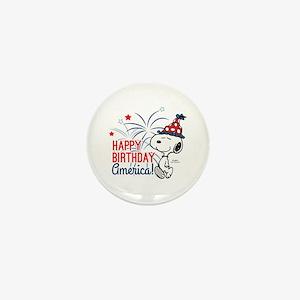 Snoopy - Happy B-Day America Mini Button