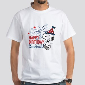Snoopy - Happy B-Day America White T-Shirt