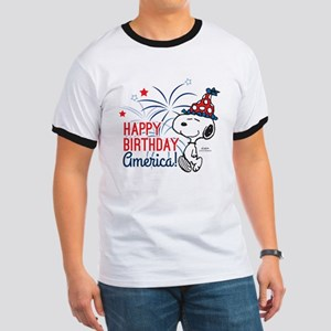 Snoopy - Happy B-Day America Ringer T