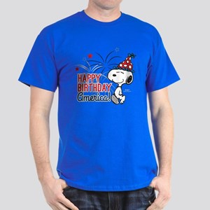 Snoopy - Happy B-Day America Dark T-Shirt