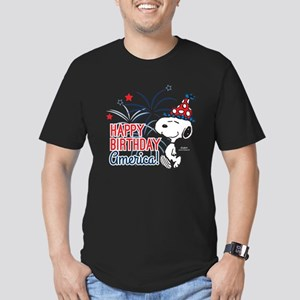 Snoopy - Happy B-Day A Men's Fitted T-Shirt (dark)