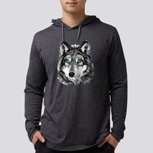 Painted Wolf Grayscale Long Sleeve T-Shirt