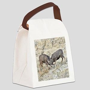 Fighting mule deer Canvas Lunch Bag