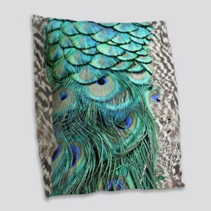 Peacock Feathers Burlap Throw Pillow