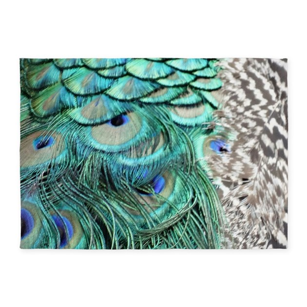 Peacock Feathers 5'x7'Area Rug By Joysdesignershop