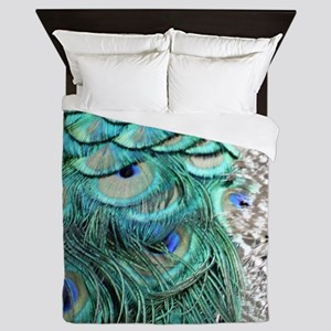 Peacock Feathers Queen Duvet