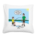 Summer Ice Fishing Square Canvas Pillow