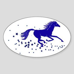 Blue Stars Pony Oval Sticker