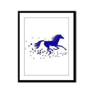 Blue Stars Pony Framed Panel Print