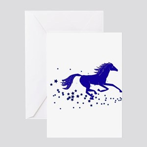 Blue Stars Pony Greeting Card