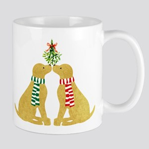 Yellow Labs Kissing Mistletoe 11 oz Ceramic Mug