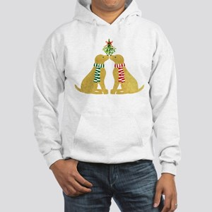 Yellow Labs Kissing Mistletoe Hooded Sweatshirt