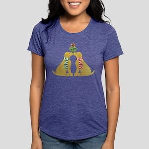 Yellow Labs Kissing Mistl Womens Tri-blend T-Shirt