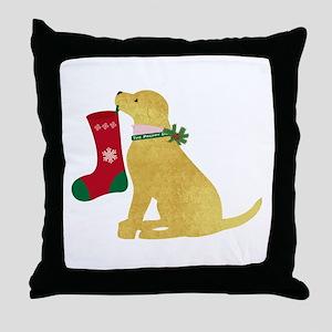 Christmas Yellow Lab Preppy Dog Throw Pillow