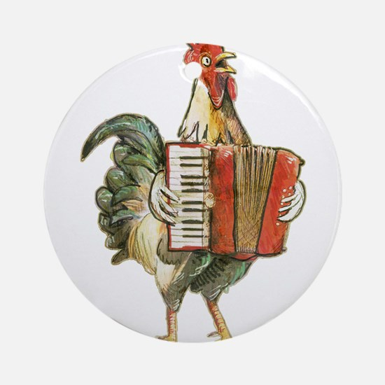 Accordian Playing Chicken Ornament (Round)