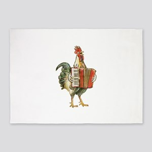 Accordian Playing Chicken 5'x7'Area Rug