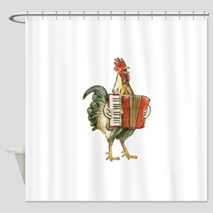 Accordian Playing Chicken Shower Curtain