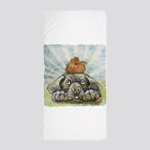 The Chicken and the Dog Beach Towel
