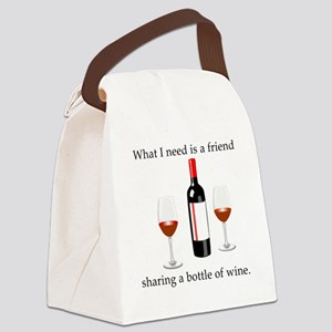 Wine and Friends Canvas Lunch Bag