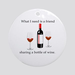 Wine and Friends Round Ornament
