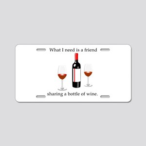Wine and Friends Aluminum License Plate