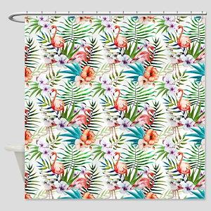 Watercolor Tropical Flamingos Shower Curtain