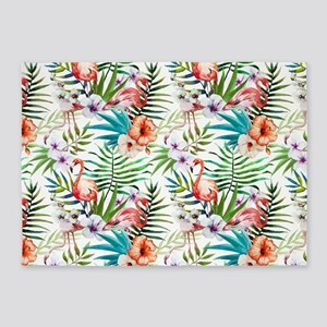 Watercolor Tropical Flamingos 5'x7'Area Rug