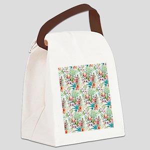 Watercolor Tropical Flamingos Canvas Lunch Bag