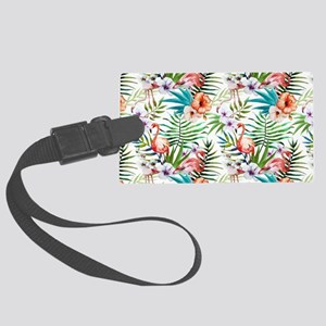 Watercolor Tropical Flamingos Large Luggage Tag