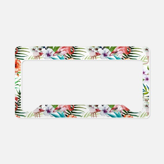 Watercolor Tropical Flamingos License Plate Holder