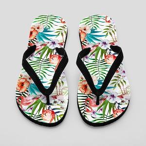 Watercolor Tropical Flamingos Flip Flops