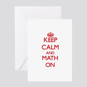 Keep Calm and Math ON Greeting Cards