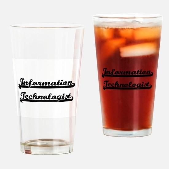 Information Technologist Artistic J Drinking Glass