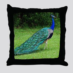 Velvet Blue Peacock Throw Pillow