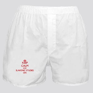 Keep Calm and Slavonic Studies ON Boxer Shorts