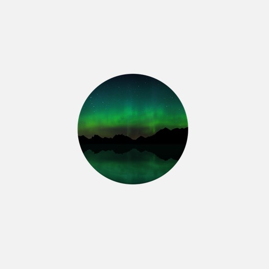Northern Lights over mountains and wat Mini Button