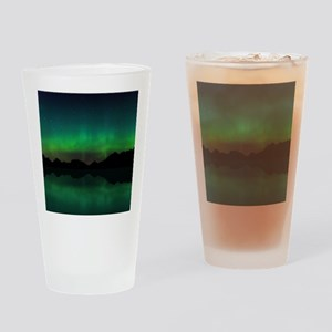 Northern Lights over mountains and  Drinking Glass