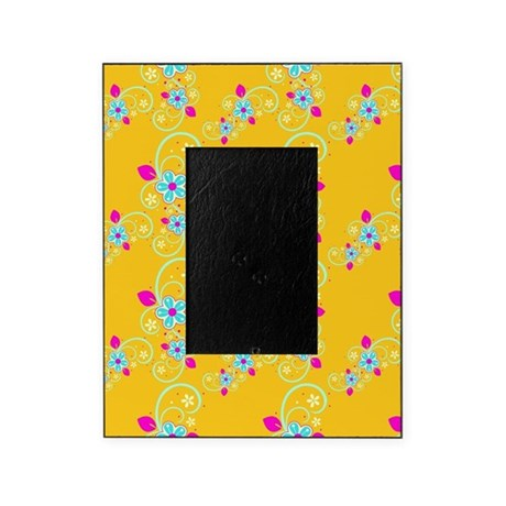 Golden Aqua Floral Swirls Picture Frame