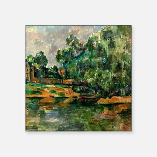 "Cezanne - Riverbank Square Sticker 3"" x 3"""
