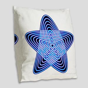 Blue Star Burlap Throw Pillow