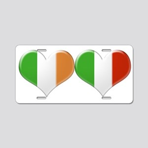 Irish and Italian Heart Fla Aluminum License Plate