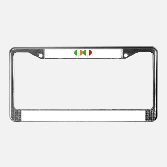 Irish and Italian Heart Flags License Plate Frame