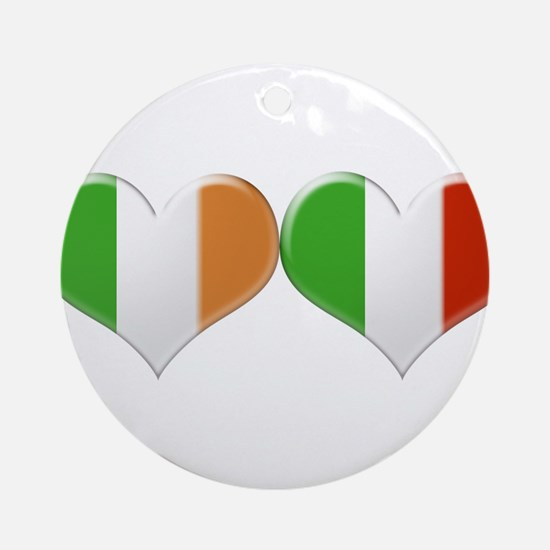 Irish and Italian Heart Flags Ornament (Round)