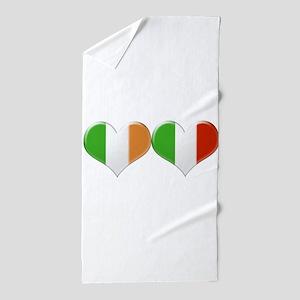 Irish and Italian Heart Flags Beach Towel