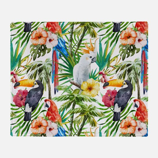 Tropical Flowers and Macaw Throw Blanket