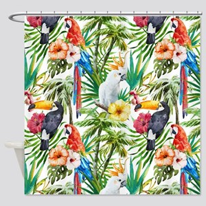 Tropical Flowers and Macaw Shower Curtain