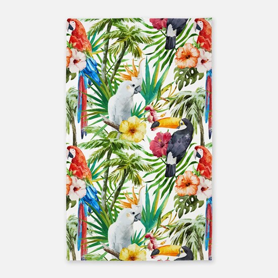 Tropical Flowers and Macaw Area Rug