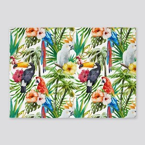 Tropical Flowers and Macaw 5'x7'Area Rug